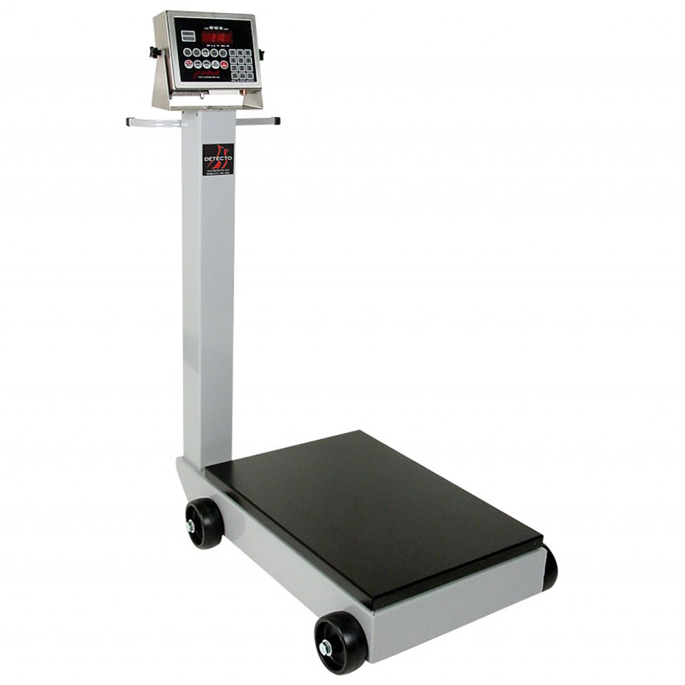 "Detecto 8852F-204 Digital Receiving Scale, 1"" LCD Display, LB/KG Switch, 1000 x .5-lb"