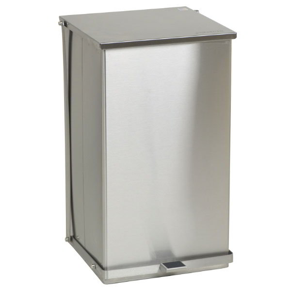 "Detecto C-100 25-gal Rectangle Metal Step Trash Can, 27.75""L x 16.75""W x 17.75""H, Stainless"