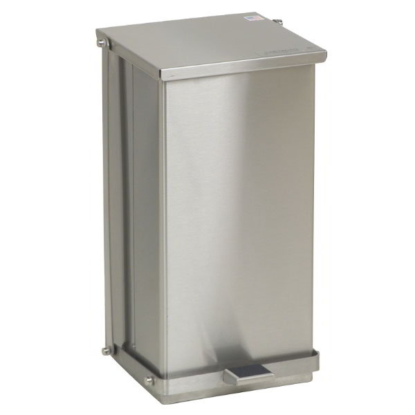 "Detecto C32 8-gal Rectangle Metal Step Trash Can, 21""L x 11.75""W x 13""H, Stainless"