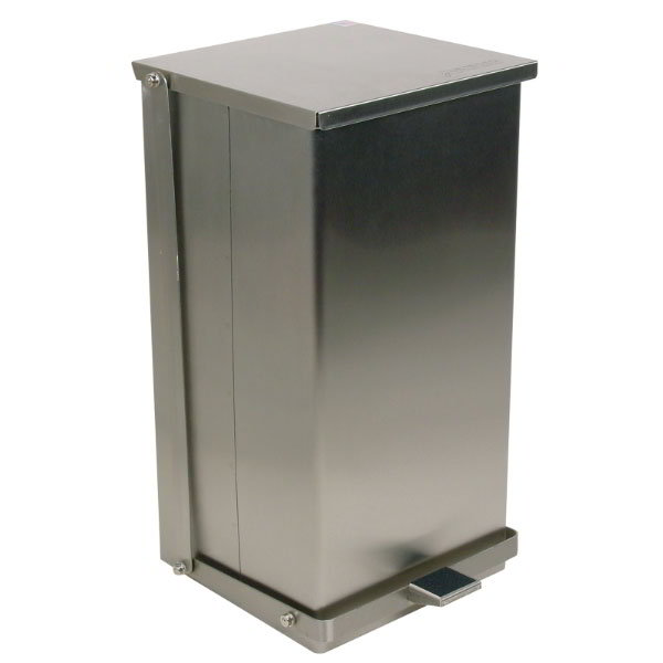 "Detecto C48 12-gal Rectangle Metal Step Trash Can, 23.5""L x 13""W x 14""H, Stainless"