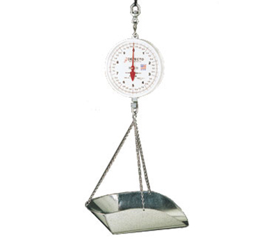 Detecto MCS-20KGDP Double Dial Hanging Scale w/ Galvanized Scoop & Chains, 20-kg