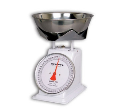 Detecto T25B Top Loading Dial Portion Scale w/ Stainless Bowl, 25-lb x 1-oz