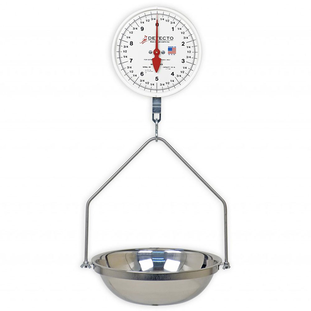 """Detecto MCS-10KGH Hanging Plated S-Hook Scale w/ 8"""" Dial, 2-Revolution, 10-kg"""