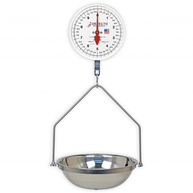 Detecto MCS-20DF Hanging Double Dial Fish & Vegetable Scale w/ 14.5-in Pan, 20-lb.