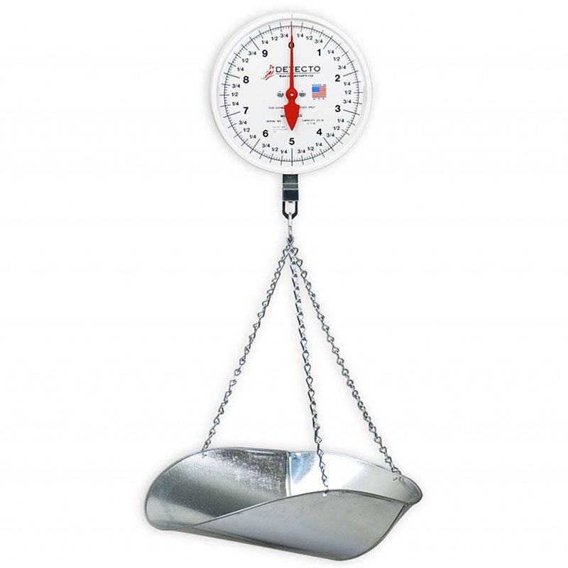 Detecto MCS-20DP Hanging Scale w/ Galvanized Scoop & Chains, 2-Revolution, 20-lb