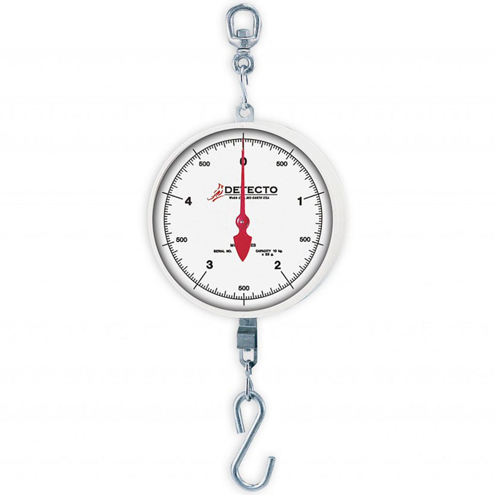 "Detecto MCS-40H Plated S-Hook Hanging Scale w/ 8"" Dial, 2-Revolution, 40-lb"
