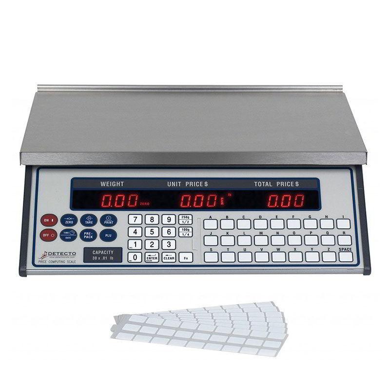 Detecto PC-30 30-lb Price Computing Scale - Front & Back Display, 115v