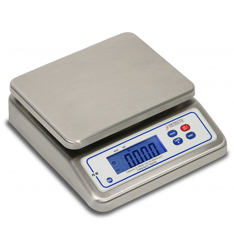 "Detecto PS30 30-lb Digital Portion Control Scale w/ LCD Display, 7"" x 5.5"", Top Loading"