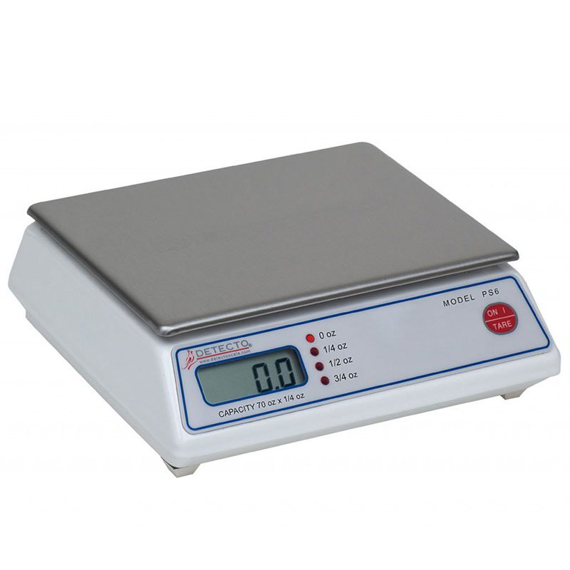 Detecto PS6A Scale, Digital Portion Control, Tare Button, Uses 4 AA Batteries