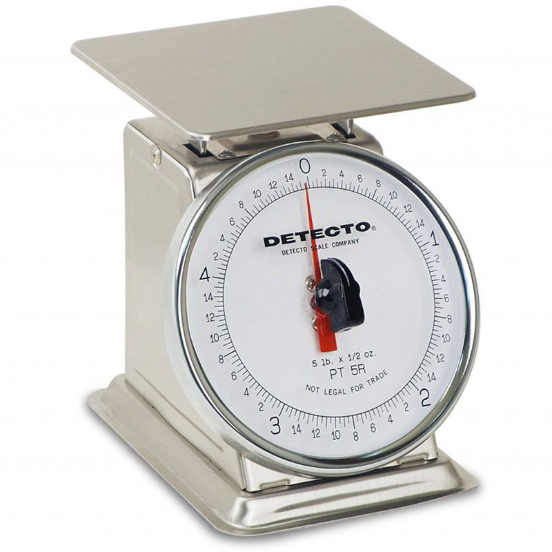Detecto PT-5SR Petite Top Loading Rotating Dial Portion Scale w/ Stainless, 5-lb x .5-oz