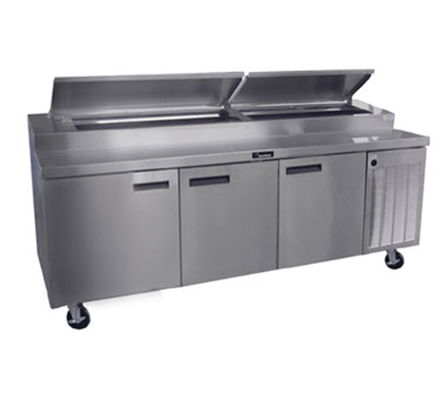 "Delfield 18699PTBM 99"" Pizza Prep Table w/ Refrigerated Base, 115v"