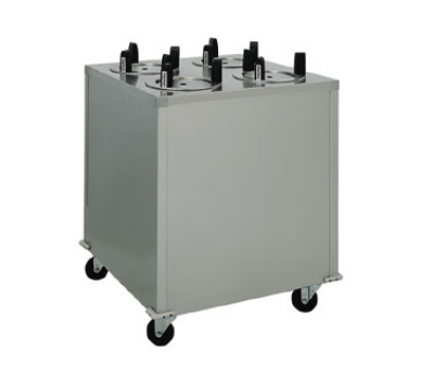 Delfield CAB4-1013 10.12-in Enclosed Mobile Plate Dispenser w/ 4-Self-Elevating Tubes, Stainless