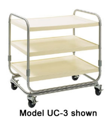 Delfield UC-3 3-Shelf Utility Cart w/ Open Base, Casters, Fiberglass