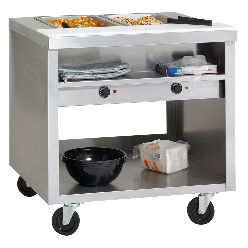 "Delfield EHEI74C 74"" Hot Food Table w/ 5-Wells & Poly Cutting Board, Casters"