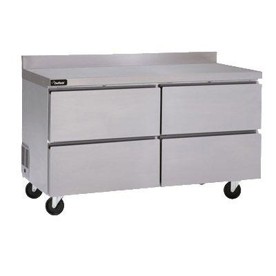 "Delfield GUR48BP-D 48"" Worktop Refrigerator w/ (2) Sections & (4) Drawers, 115v"
