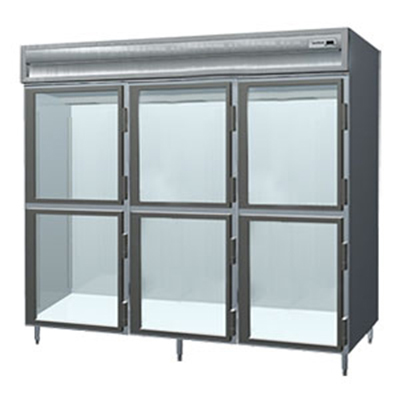 "Delfield SSR3-GH 83"" Three Section Reach-In Refrigerator, (3) Glass Door, 115v"