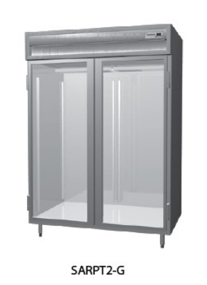 "Delfield SSRPT2-GHSH 56"" Two Section Pass Thru Reach-In Refrigerator, (2) Glass Door, 115v"