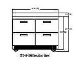 "Delfield STD4448N 48"" Work Top Refrigerator w/ (2) Sections & (4) Drawers, 115v"