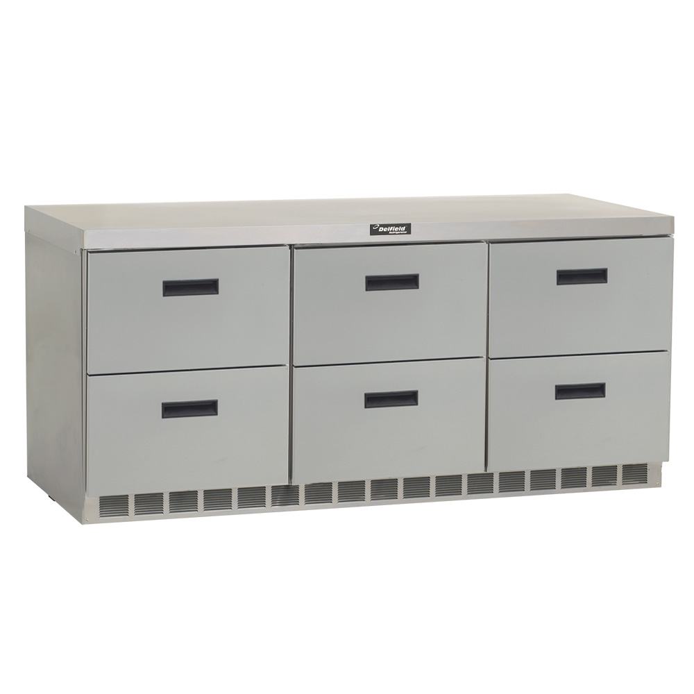 Delfield UCD4472N 24.8-cu ft Undercounter Refrigerator w/ (3) Sections & (6) Drawers, 115v
