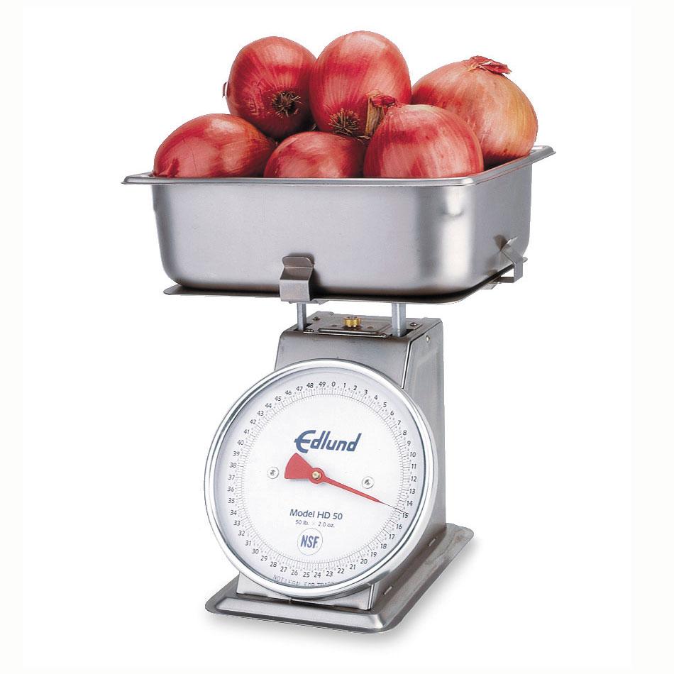 "Edlund HD-50P Receiving Dial Type Scale w/ Cradle & 4""Half Pan, 50 lb x 2 oz"