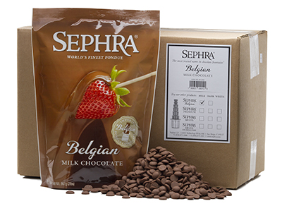 Sephra 28002 Belgian Milk Fondue Chocolate, Fountain Ready, (10) 2-lb Bags