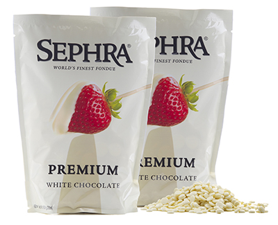 Sephra 28006 Premium White Fondue Chocolate, Fountain Ready, (10) 2-lb Bags