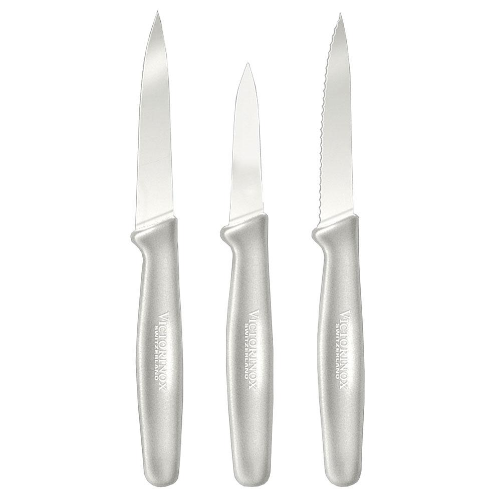 Victorinox - Swiss Army 49765 3-Piece Paring Knife Set w/ Fibrox Handle, Black