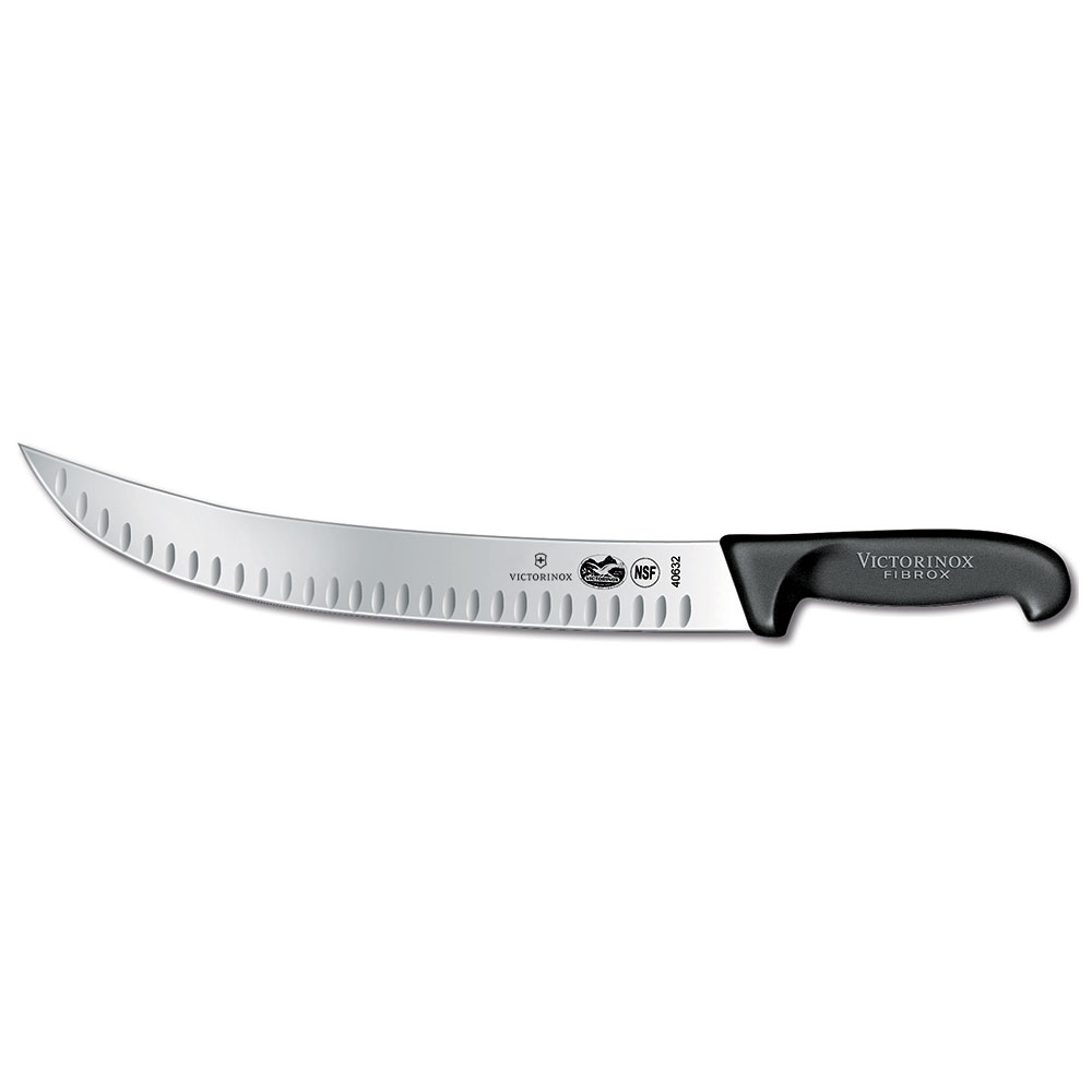 "Victorinox - Swiss Army 40632 Curved Cimeter Knife w/ 12"" Blade, Granton Edge, Black Handle"