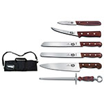 Victorinox - Swiss Army 46047 7-Piece Cutlery Roll Set w/ Canvas Case, Rosewood Handle