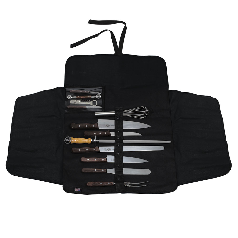 Victorinox - Swiss Army 46050 13-Piece Culinary Set w/ Washable Canvas Roll, Rosewood Handles