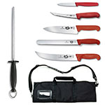 Victorinox - Swiss Army 46136US2 7-Piece Competition BBQ Knife Set - Stainless Steel, Red Handles