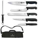 Victorinox - Swiss Army 46150 7-Piece Fibrox Culinary Kit w/ (6) Knives & Roll Case