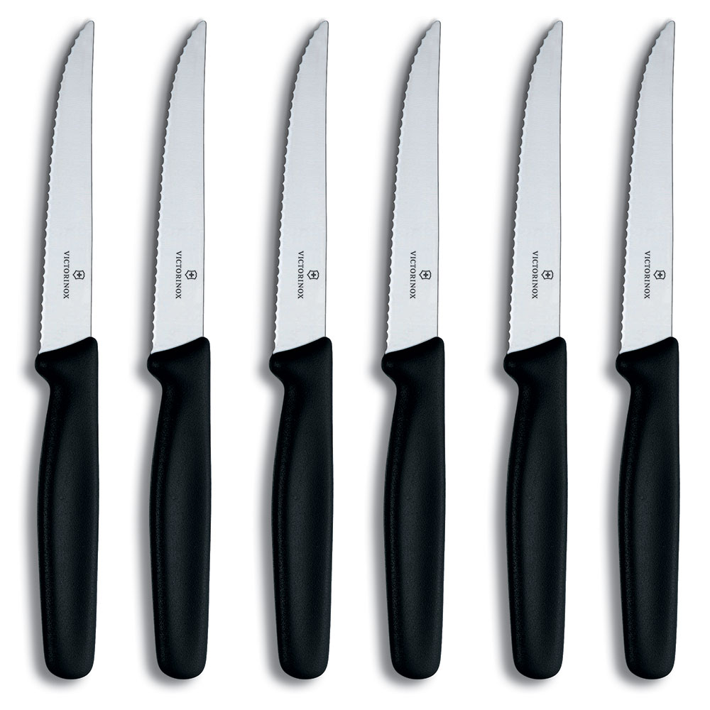 Victorinox - Swiss Army 47650 6-Piece Steak Knife Set w/ Pointed Tip, Wavy Edge, Black Polypropylene Handles