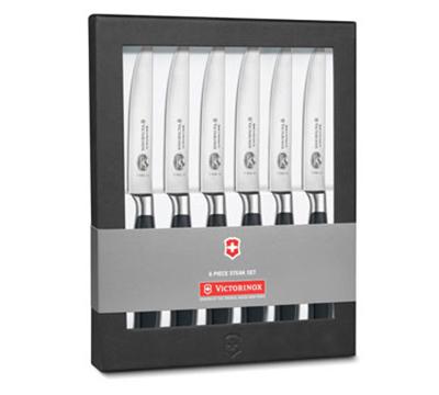Victorinox - Swiss Army 7.7243.6 6-Piece Forged Steak Knife Set w/ Black POM Handles