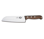 Victorinox - Swiss Army 41527 7-in Santoku Knife w/ Granton Edge, Rosewood Handle
