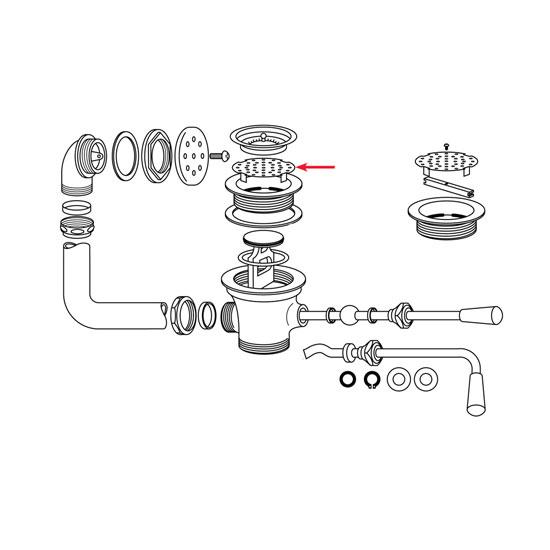 """Franklin Machine 100-1013 Strainer, 3-1/2"""" Sink Opening, 3-7-16"""" Diameter"""