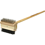 "Franklin Machine 133-1651 Grill Brush w/ 48"" Handle, Coarse Steel Bristles"