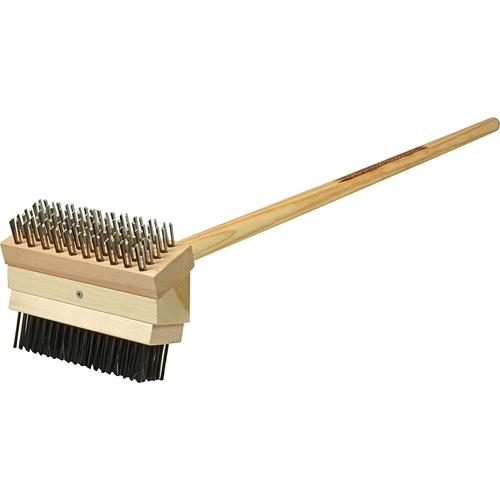 "Franklin Machine 133-1651 Grill Brush w/ 48"" Handle, Coarse Steel Bristles"