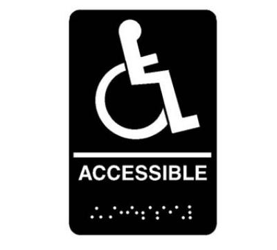Franklin Machine 2801195 Sign - Wheelchair Accessible - 6 x 9, Braille, Black w/ White