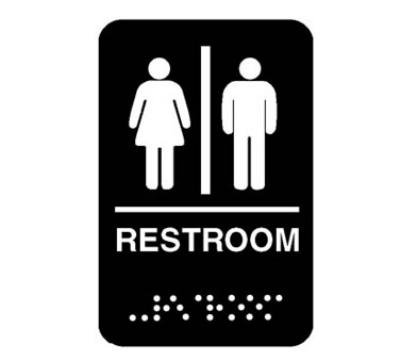 Franklin Machine 2801200 Sign, Men and Women Restroom, 6 x 9, Braille, Black/White Lettering