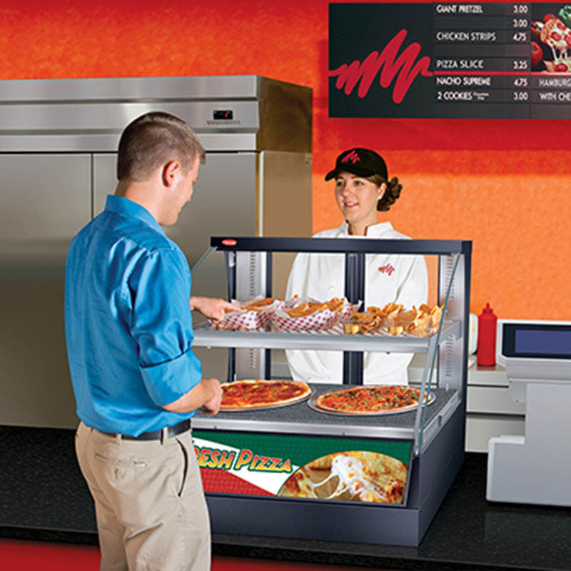 "Hatco FSCDH-2PD 34.34"" Full-Service Countertop Heated Display Case w/ Curved Glass - (2) Levels, 120v"