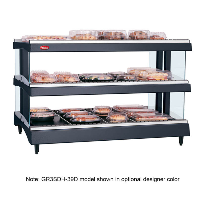 "Hatco GR3SDH-33D 208 33.18"" Self-Service Countertop Heated Display Shelf - (3) Shelves, 208v/1ph"