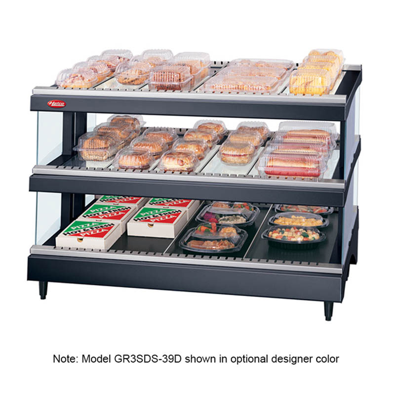 "Hatco GR3SDS-39D 208 39.18"" Self-Service Countertop Heated Display Shelf - (3) Shelves, 208v/1ph"