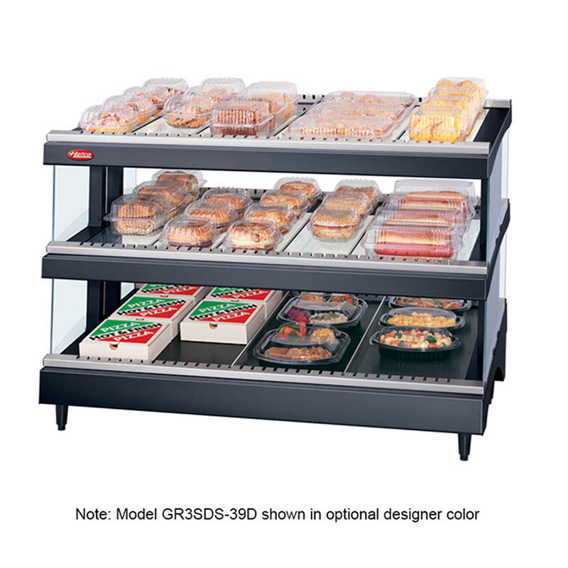 Hatco GR3SDS-39D 240 Glo-Ray Slant Display Warmer, 2-Shelves w/ 21-Rods, 120/240 V