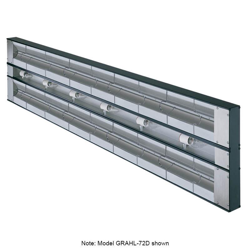 "Hatco GRAHL-108D6 108"" Foodwarmer, Dual w/ 6"" Space, High Watt & Lights, 208 V"