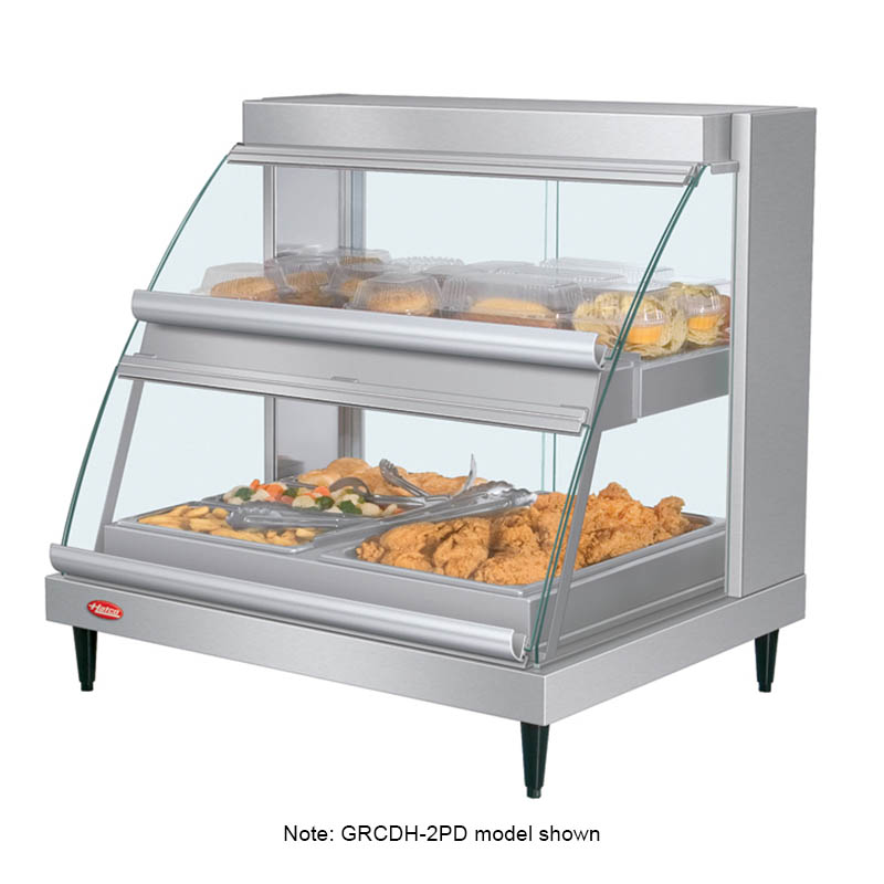 """Hatco GRCDH-1PD 20.63"""" Self-Service Countertop Heated Display Case w/ Curved Glass - (2) Levels, 120v"""