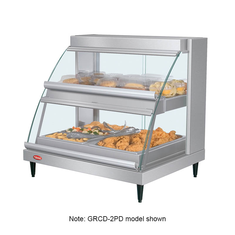 Hatco GRCDH-2PD Heated Display Case, Humidity & Curved Glass, 2-Pan Shelf, Incadescent 1460-watt