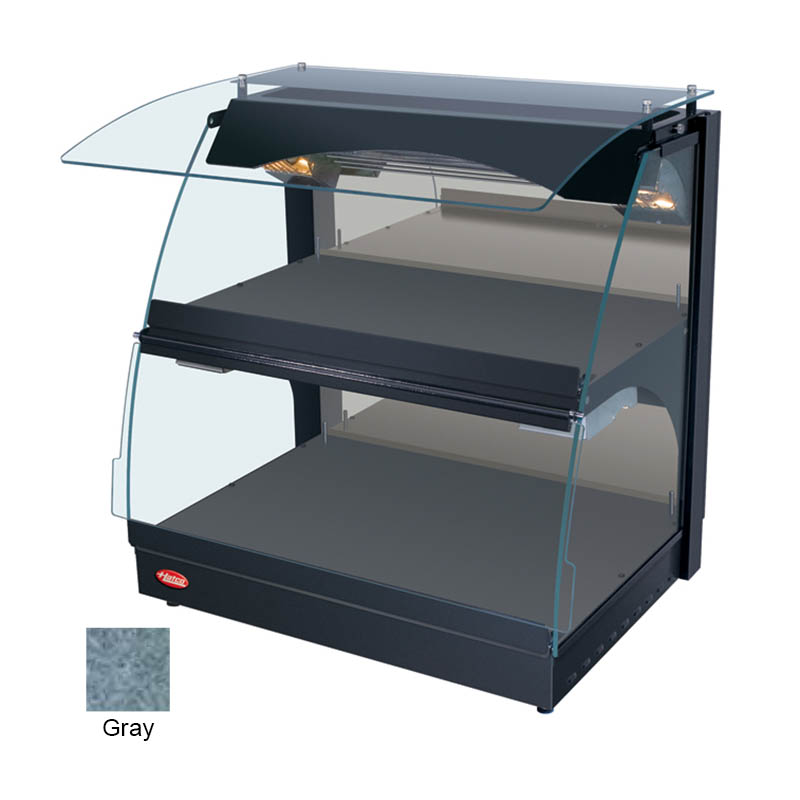 """Hatco GRCMW-1D 26"""" Self-Service Countertop Heated Display Case w/ Curved Glass - (2) Levels, Gray, 120v"""