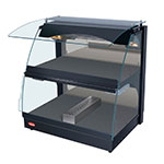 "Hatco GRCMW-1DH 26"" Self-Service Countertop Heated Display Case w/ Curved Glass - (2) Levels, Black, 120v"