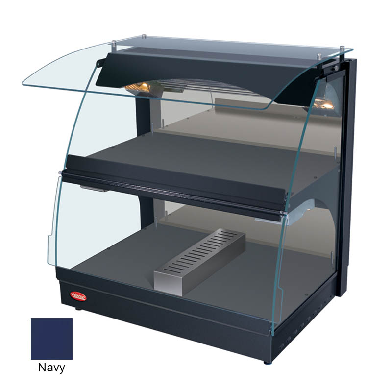 """Hatco GRCMW-1DH 26"""" Self-Service Countertop Heated Display Case w/ Curved Glass - (2) Levels, Navy, 120v"""